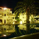 The pool and bar at night