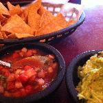 Chips with salsa and guacamole.