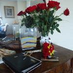 Flowers waiting in the room with great decor