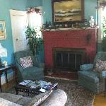 Parlor room with fireplace