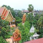 view from our balcony to next door temple