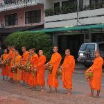 monks chanting outside our hotel after collecting alms