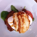 corn fritters with poached egg and grilled haloumi