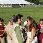 Ceremony; reception tent in background