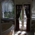 The bathroom:  Left side (fab Jacuzzi tub).