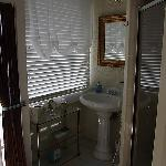 The bathroom:  Right Side (shower and sink)