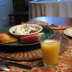 Breakfast at the Weston House B&B  Made especially for my husband who has a wheat allery