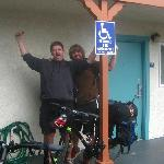 The two of us, waving goodbye to a good Rodeway Inn experience