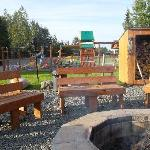 fire pit and children's play area