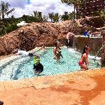 Dual level spa waterfall overlooking ocean