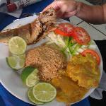 Comida tipica (fried fish, fresh salad, plantains and coconut rice) Yummy! :)