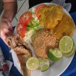 Comida tipica (fried fish, fresh salad, plantains and coconut rice) Yummy! :)