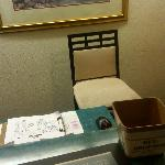 Waiting to check out, I took a picture of the empty desk clerk's chair