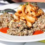 Salade de lentilles aux blanc volaille (marinated sauteed slivers of chicken breast served with