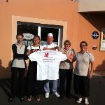 Just a few of the very pleasant and helpful staff at the 'Ibis' hotel in Falaise......