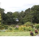 Helicopter landing in the Italian gardens