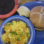 Yellow rice,black beansoup, chicken snadwich