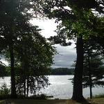 A view of the lake in the morning, from the top of the hill near the cabins