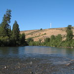 North Yakima River with wind turbine