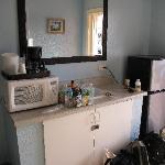 Kitchen area, across from the bathroom