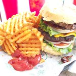 Kick in the Balls Burger with fries