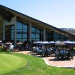 The clubhouse and patio