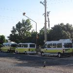 Bus station in front of hotel