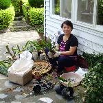 Mrs Chung doing her gardening