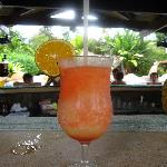 Delicious Arenal Volcano drink at wet bar, made by Andrés!