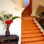 Fresh exotic bouquet by the gorgeous staircase