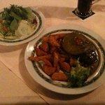 La Rustika - steak with side salad.