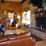 Lounging area & fireplace.