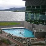 the chill pool overlooking the lake . this entrance is from the spa
