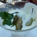 grilled asparagus, egg, and cheese sauce appetizer