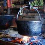 Offene Feuerstelle der in der Karseggalm