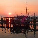 Ocracoke harbor at sunset