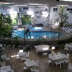 The indoor pool with new furniture