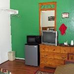 fridge, microwave and coffee pot in each room