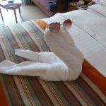 Decoration made by towels in room
