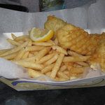 Fresh caught fish & chips - I couldn't wait to start eating!