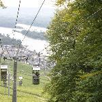 Riding sky-ride down into Rudesheim
