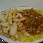 Curry with rice and chips