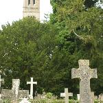 View of campanile (tower) from church yard