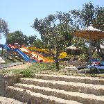 Entry to the beach and water slides