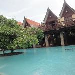 Pool with the Thai cottages