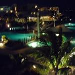 The pool from our balcony at night.