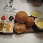 bread with a selection of four tapenades (Kalamata olive, parsley with chili (not very spicy), c
