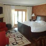 Room 105 - note gas fireplace and king bed