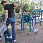 The gym facilities you can use on the walk to the beach!