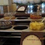 Yummy home made jams and flavored yogurts